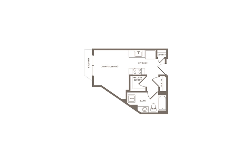 Blackberry - Studio floorplan layout with 1 bath and 446 to 479 square feet. (Layout 3)