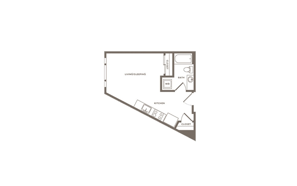 Blackberry - Studio floorplan layout with 1 bath and 446 to 479 square feet. (Layout 1)