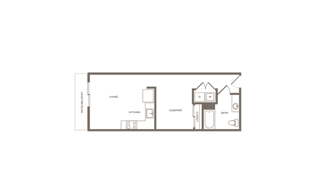 Elderberry - Studio floorplan layout with 1 bath and 542 to 665 square feet. (Layout 2)
