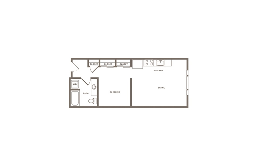Elderberry - Studio floorplan layout with 1 bath and 542 to 665 square feet. (Layout 1)