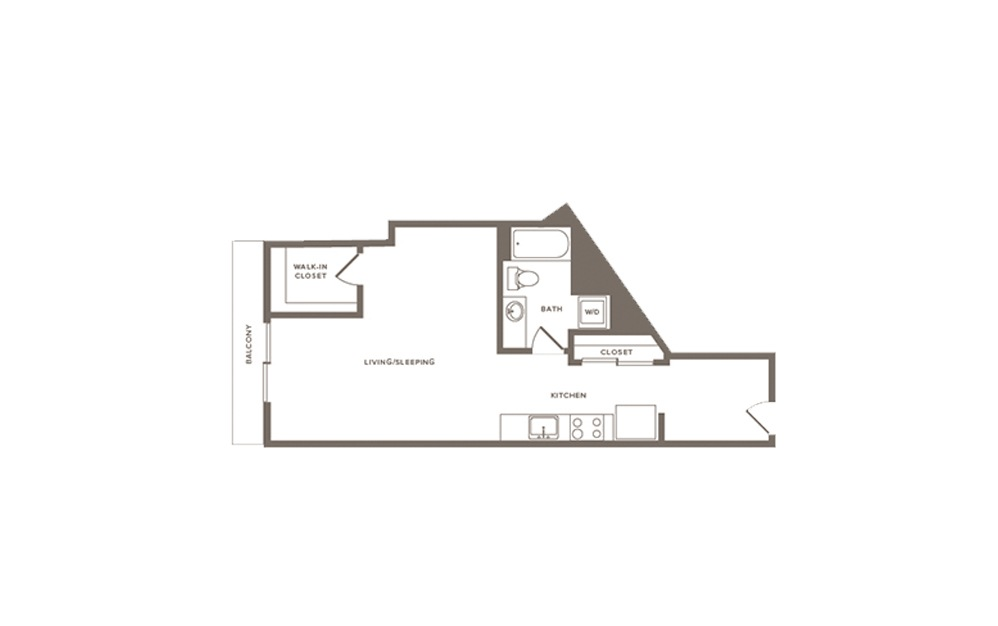 Thimbleberry - Studio floorplan layout with 1 bath and 620 square feet. (Layout 2)
