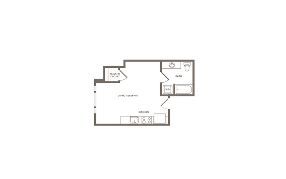 Thimbleberry - Studio floorplan layout with 1 bath and 620 square feet. (Layout 1)